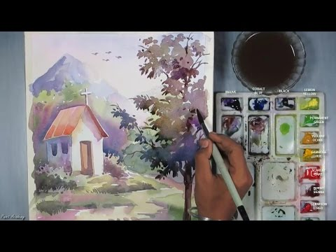 Beginners Watercolor | How to Paint A House Landscape | Episode-5