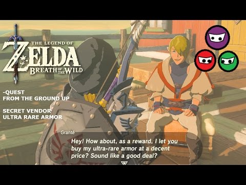 Zelda Breath Of The Wild | Quest From The Ground Up | Secret Vendor Rare Armor | Tarrey Town