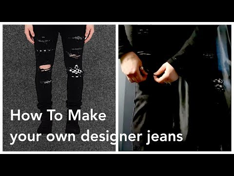DIY Designer Distressed Jeans | How To Rip Patch Fray Easy