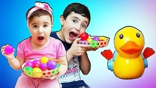 Super Celina Play with Duck toy for kids - سوبر سيلينا وحسونة يلعبون بطة للاطفال