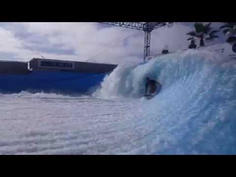 Nick Nguyen Riding the Flowrider Barrel at Wavehouse San Diego