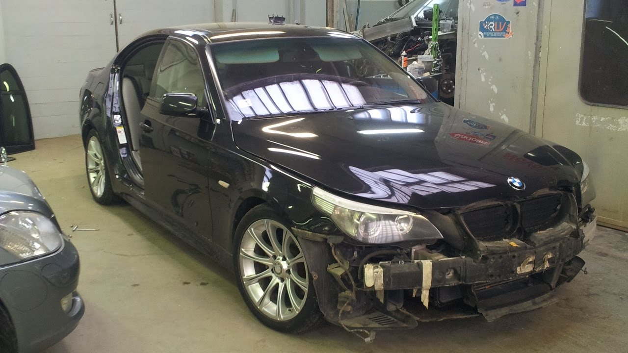 Bmw 530i E60 Collision Repair Door And Front Bumper Replace Youtube