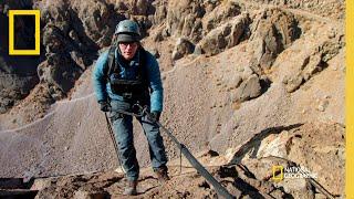 Bobby Bones & Caitlin Parker Descend a Cliff  | Running Wild with Bear Grylls