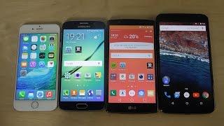 iphone 6 ios 9 beta vs samsung galaxy s6 edge vs lg g4 vs nexus 6 android m comparison