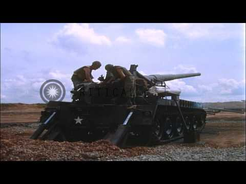 Soldiers load and fire from an M107 Self Propelled 175mm howitzer in Bien Hoa, Vi...HD Stock Footage