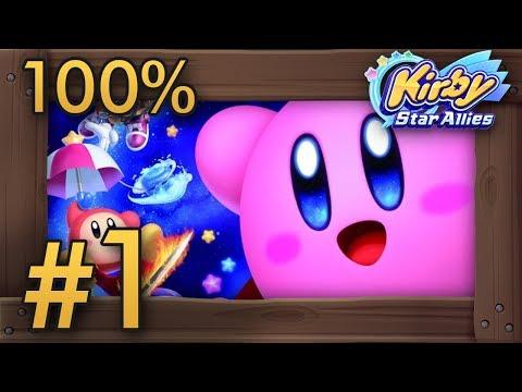 Kirby Star Allies (4 Players) 100% Co-Op Walkthrough Part 1 | World 1 - Dream Land