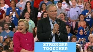Hillary Clinton, Tim Kaine first official appearance