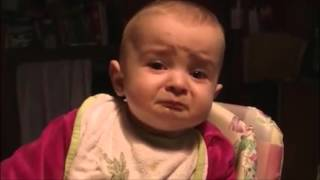 Funny baby's emotions with her voice Mother