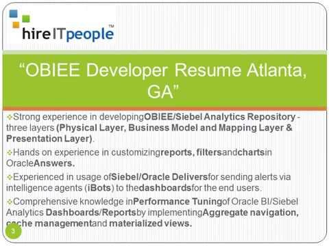 OBIEE Developer Resume Atlanta GA