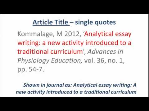 HARVARD style - Referencing an ONLINE JOURNAL ARTICLE