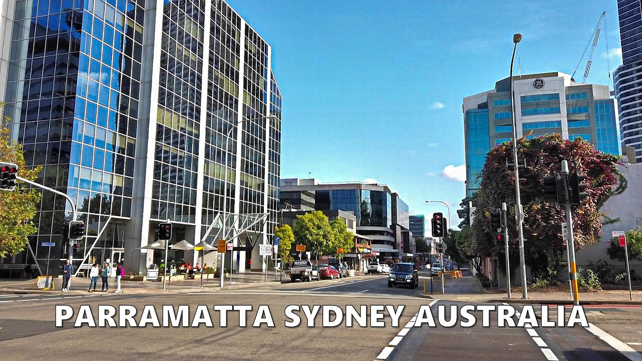 PARRAMATTA SYDNEY - Walking along Phillip Street from Parramatta ferry wharf - Australia