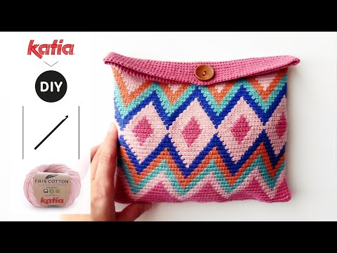 Tapestry Crochet Cosmetic Bag Made With Fair Cotton Youtube