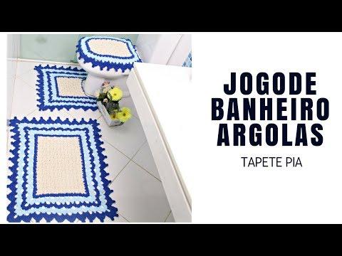 JOGO DE BANHEIRO EM CROCHÊ ARGOLAS TAPETE PIA/DIANE GONÇALVES