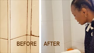 Best Way to Clean Moldy Bathroom Grout and Tiles | Post Winter Routine | Flo Chinyere