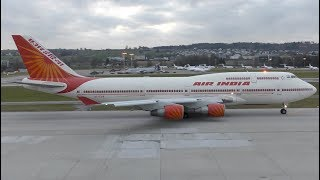 AIR INDIA ONE B747-437 [VT-EVB] departure at Zurich Airport with WEF delegation on board | 4K