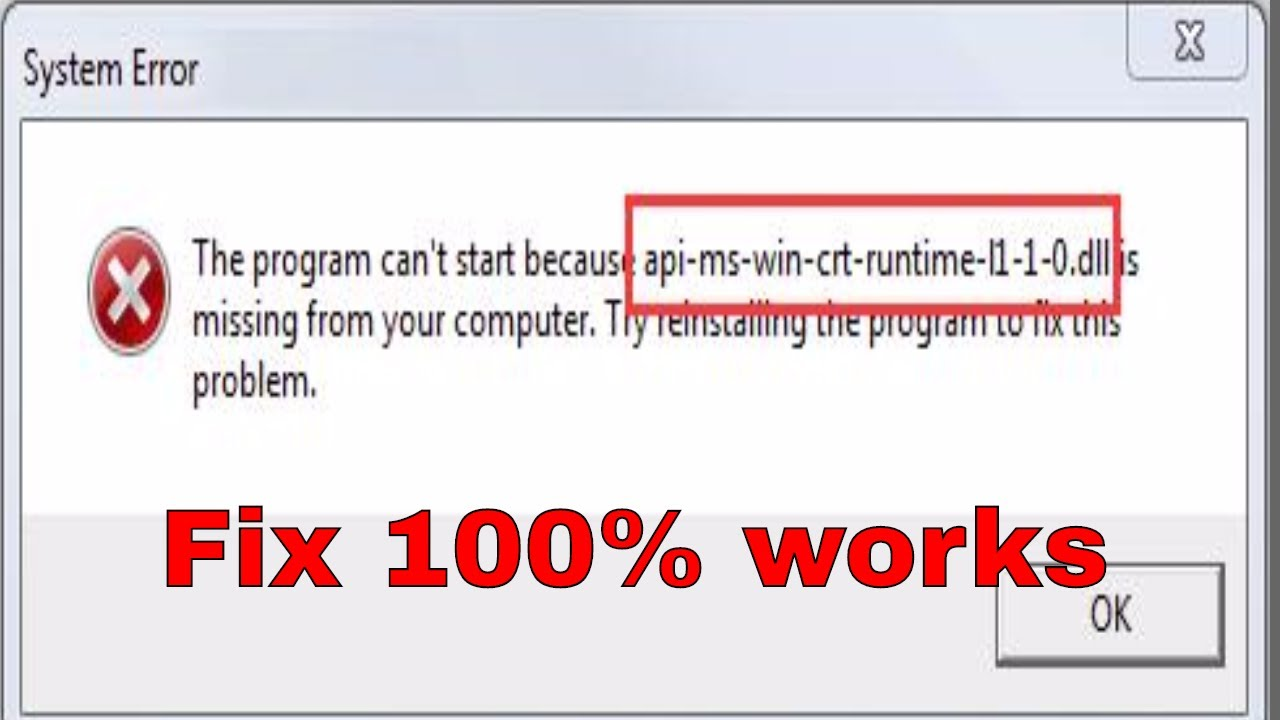 the program cant start because api-ms-win-crt-runtime-l1-1-0.dll is missing python