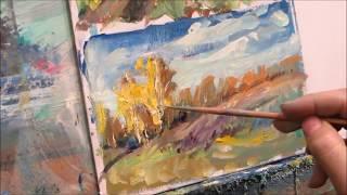 Painting with oil  Etude 7  Autumn hillock