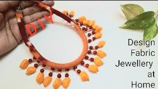 DIY Cotton Fabric Rope Necklace with Beads hangings | Handmade Jewellery Making