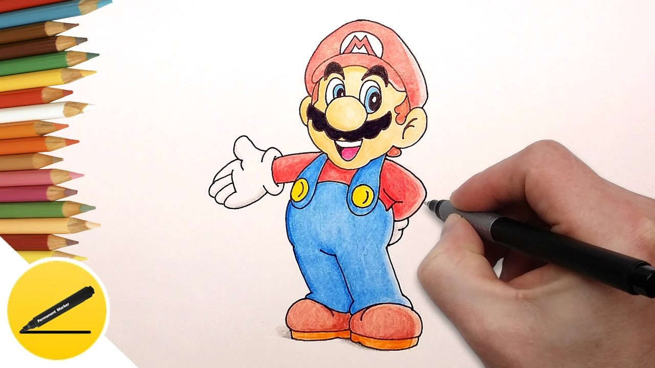 How To Draw Super Mario Step By Step Nintendo Games Draw Super Mario Run