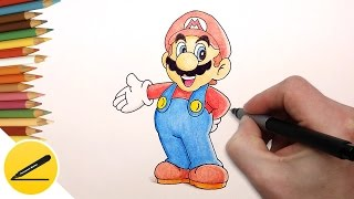 How to Draw Super Mario Step by Step (Nintendo Games) - Draw Super Mario Run