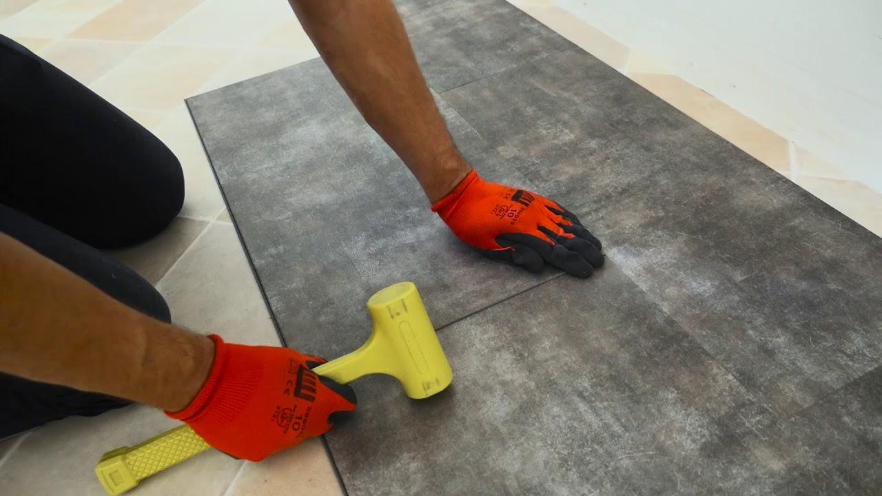 Aspect Carreaux de ciment Dalle sol PVC Clipsable Click 5G