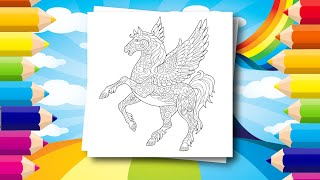 Coloring Pages for Kids - Fantasy animals - How to color a Pegasus with random colors