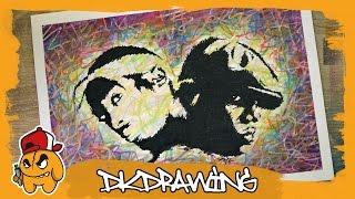Drawing Tupac & Biggie Smalls Graffiti Stencil Pop Art Style
