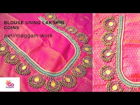 Latest Lakshmi Coin Maggam Work Bridal Blouse Designs | Aari Embroidery Work