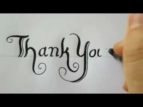 How to draw thank you with a black pen youtube Thank you in calligraphy writing