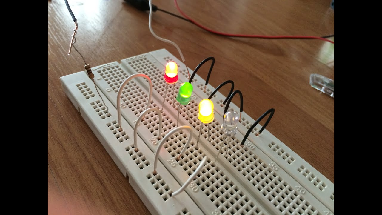 How To Connect A Led In Series Breadboard Youtube Parallel And Circuit With Lightbulbs Battery