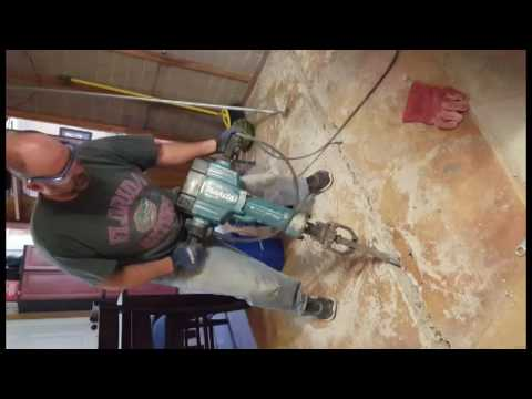 Bustin' concrete trench for kitchen island power