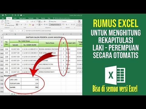 Rumus Excel untuk Menghitung Reakapitulasi Laki Perempuan Secara Otomatis