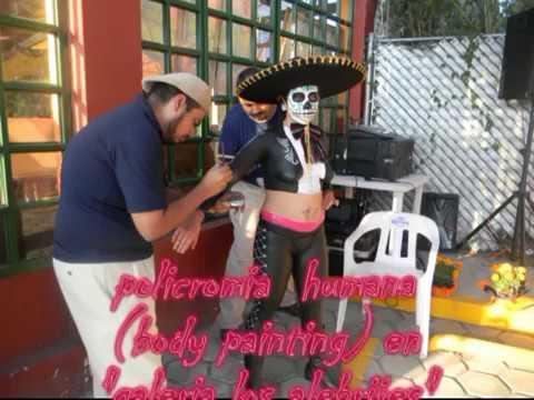Body Paint De Catrina En Traje De Charra En Atlixco Puebla Youtube