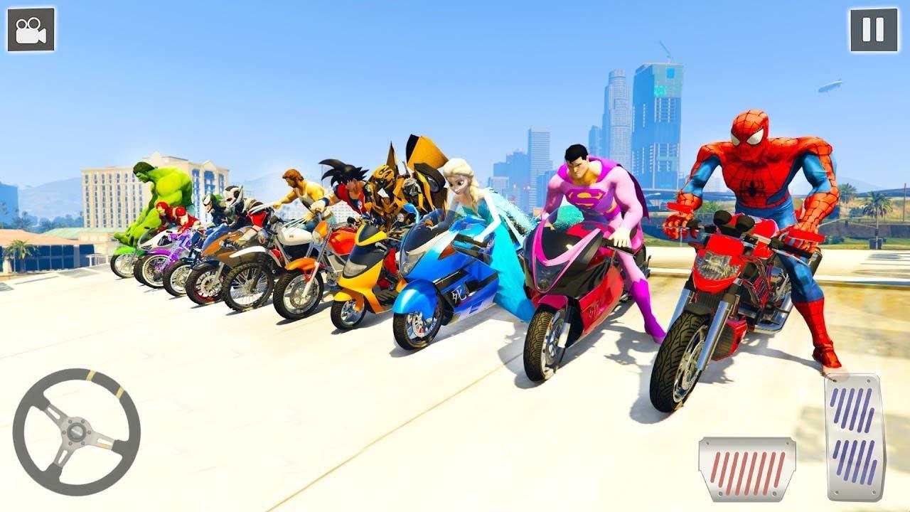 Superhero Bike Stunt Racing Tracks - Android Gameplay [슈퍼히어로 자전거 묘기 경주 트랙]