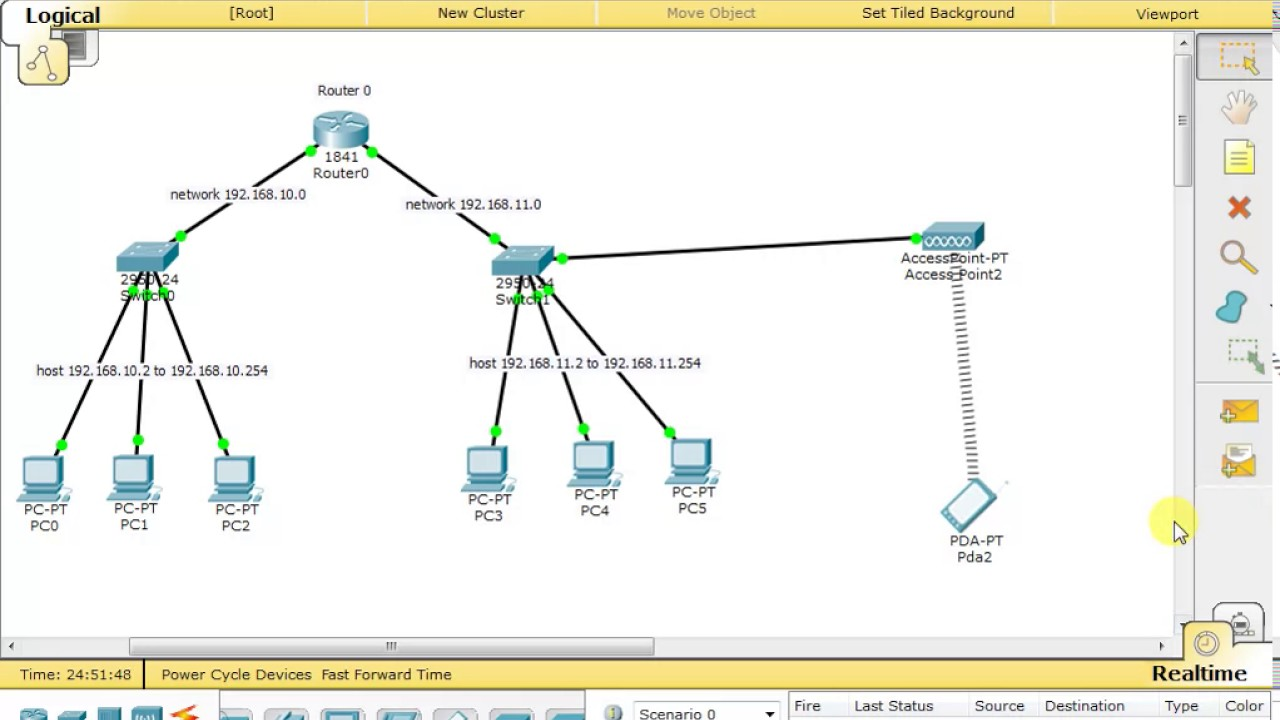 cisco packet tracer connect wireless device in network using access point [ 1280 x 720 Pixel ]