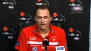 John Longmire post-match - AFL NAB Cup 2012