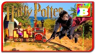 Harry potter train with Disney Princess Sofy and Bogdan's Show. Outdoor playground. Fun for kids.