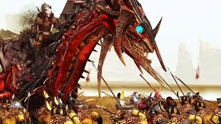 MASSIVE BATTLE - DRAGON VS HUMAN INFANTRY - TOTAL WAR WARHAMMER
