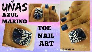 Unas De Los Pies Decoradas Color Azul Marino Easy Design Toe Nail