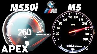 2017 BMW M550i G30 vs. M5 F10 - Acceleration Sound 0-100, 0-200 km/h | APEX