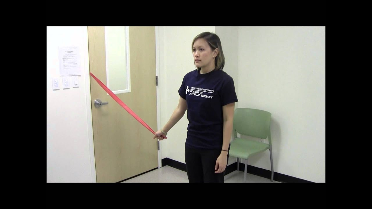 Shoulder Adduction - Isometric With Resistance Bands - YouTube