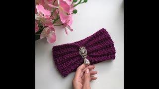Повязка на голову-вязание спицами.Пышная повязка своими руками