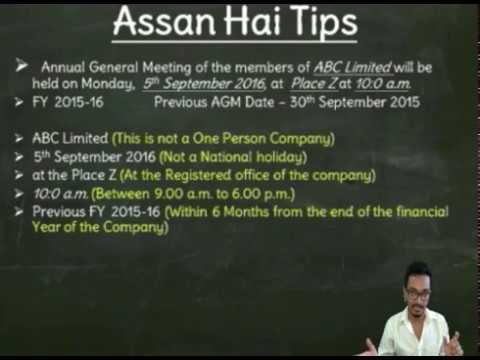 Annual General Meeting under section 96 of Companies Act 2013 in most simplified language ever .