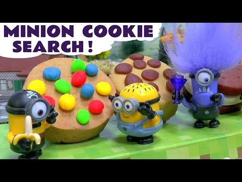 Minions Play Doh Funny Cookie Search on Thomas & Friends Diesel | Surprises include Peppa Pig