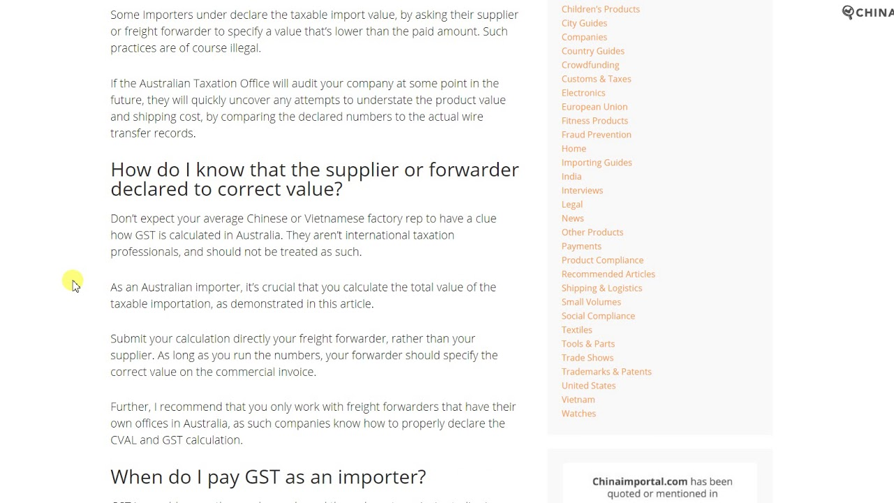 Australia Gst When Importing From Asia A Complete Guide
