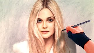 See how pastel brings out beauty - Drawing Sleeping Beauty (Elle Fanning) from Maleficent portrait
