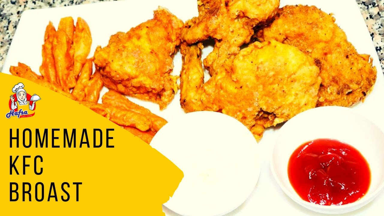 KFC Style Homemade Fried Chicken With White Garlic Sauce Recipe | KFC french fries - Hafsa Can Cook