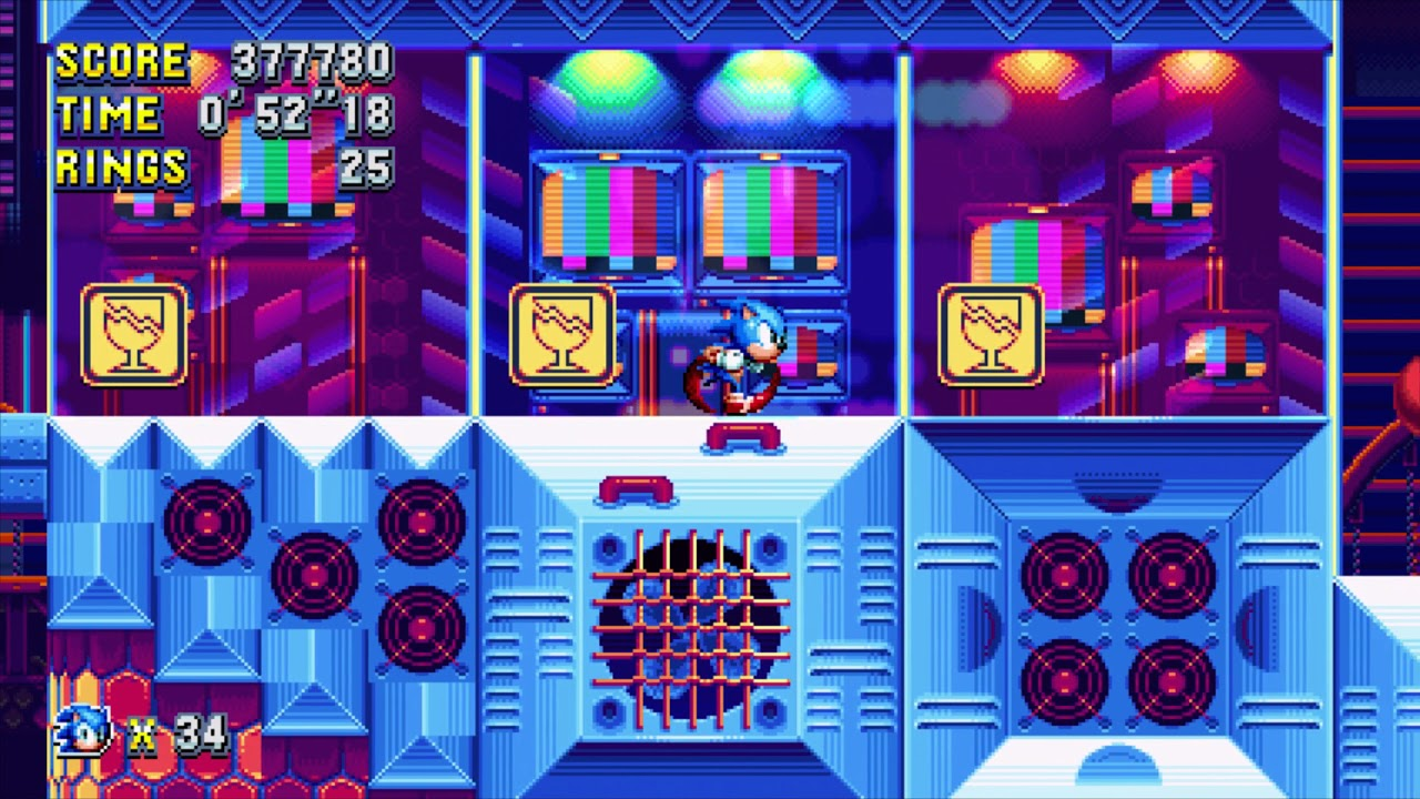 Sonic Mania - Studiopolis Zone Act 1 Giant Rings back to back