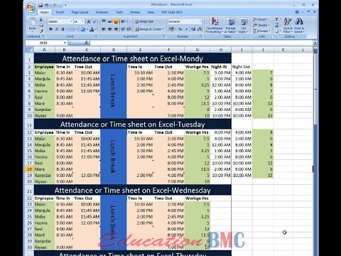 Excel attendance and time sheet for employees-1 (in Tamil) by M.M.Y.Hameed