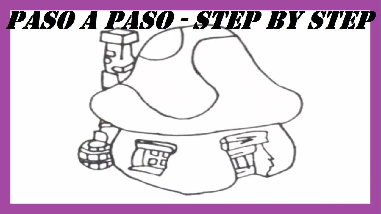 Como dibujar la Casa de los Pitufos l How to draw the House of ...